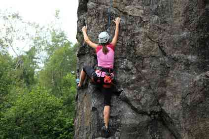 vertical rock climber woman